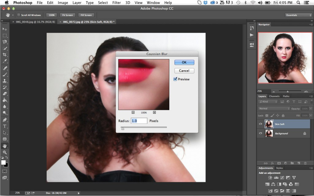 Gaussian Blur Settings To Smooth Skin