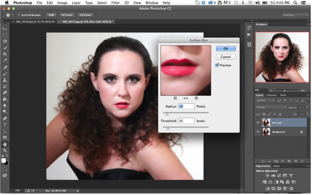 Surface Blur Settings In Photoshop To Smooth Skin