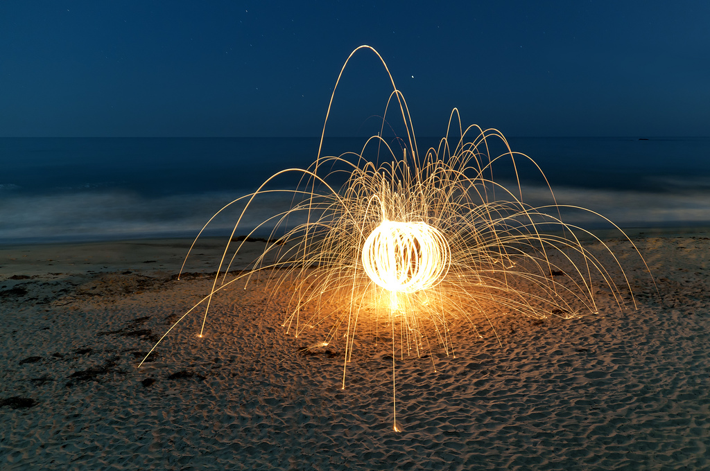 Steel Wool Sparks On Beach