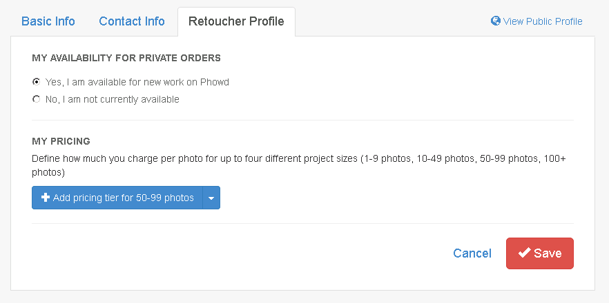 Phowd Retoucher Profile