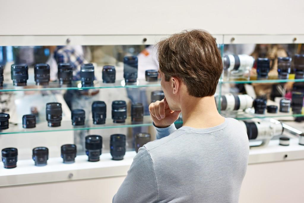 Selecting camera lens in store