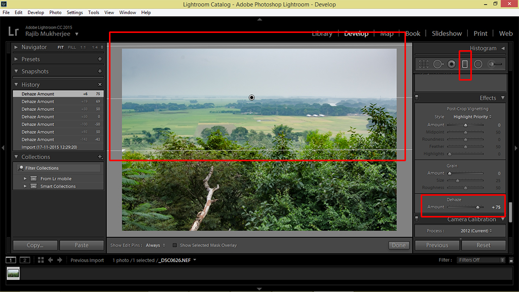 Using the Dehaze feature on Adobe Lightroom