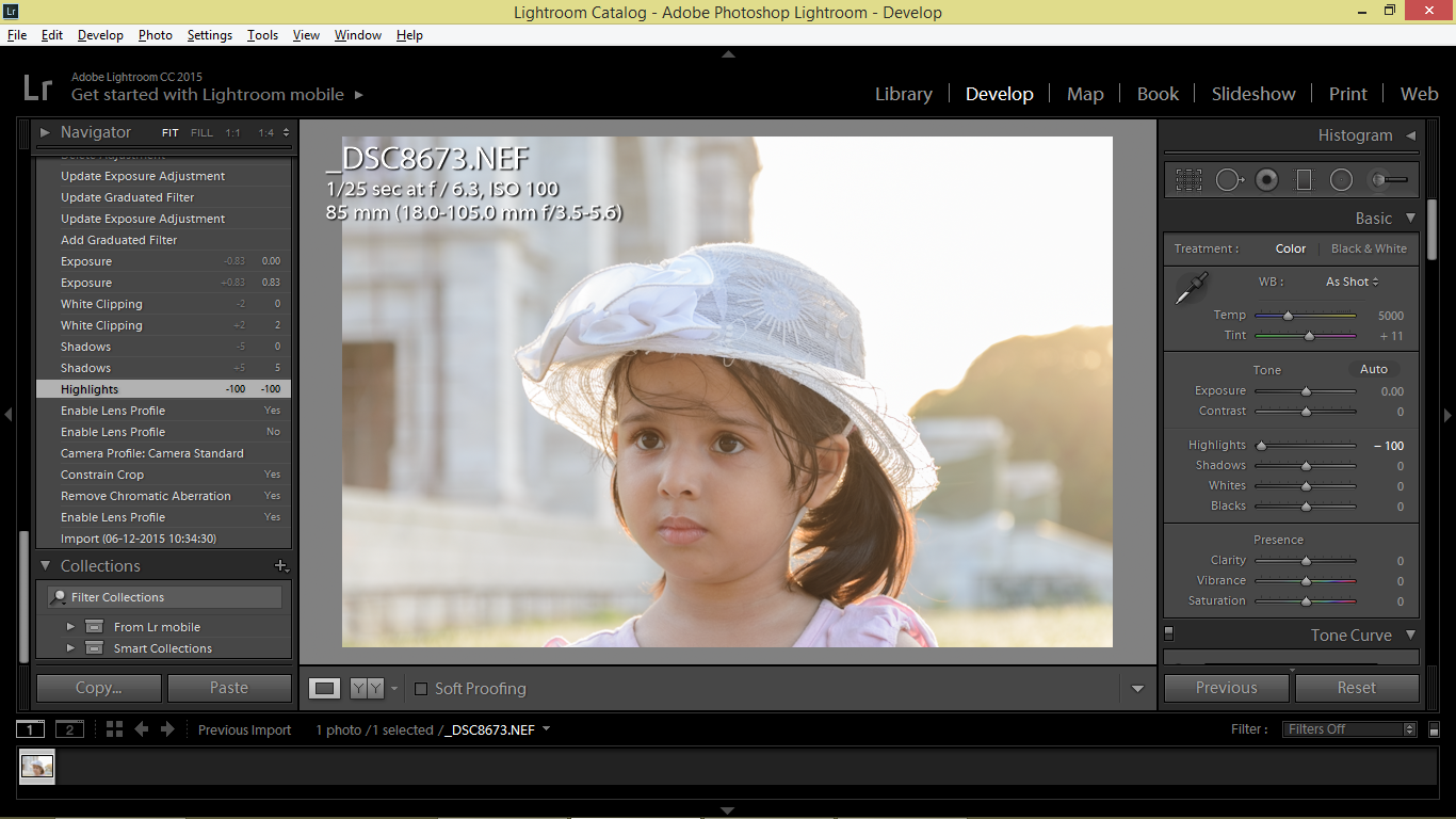 highlights slider in Lightroom, retouching child portrait