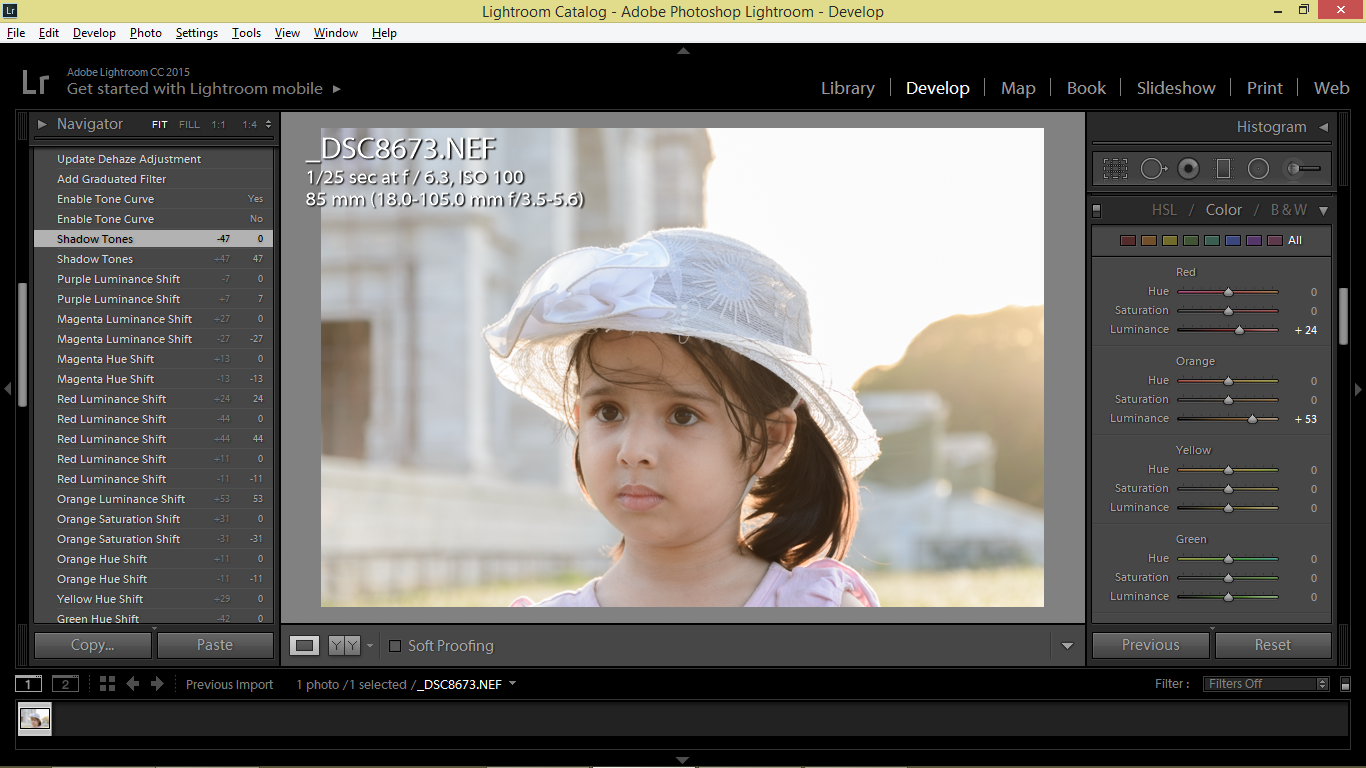 Luminance sliders in Lightroom, retouching child backlit portrait
