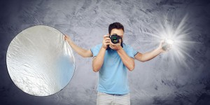 working with a photography assistant